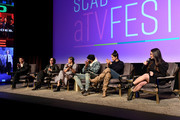 Brian Tee, S. Epatha Merkerson, Lisseth Chavez, LaRoyce Hawkins, and Miranda Rae Mayo speak onstage at SCAD aTVfest 2020 - The Windy City Trifecta: Dick Wolf's 'Chicago' Panel on February 29, 2020 in Atlanta, Georgia.