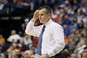 Head coach Billy Donovan of the Florida Gators reacts as he coaches against the Auburn Tigers during the first round of the SEC Men's Basketball Tournament at the Bridgestone Arena on March 11, 2010 in Nashville, Tennessee.