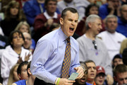 Head coach Billy Donovan of the Florida Gators reacts as he coaches against the Mississippi State Bulldogs during the quarterfinals of the SEC Men's Basketball Tournament at the Bridgestone Arena on March 12, 2010 in Nashville, Tennessee.