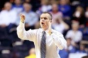 Head coach Billy Donovan of the Florida Gators gestures from the bench in the first half against the LSU Tigers during the Quarterfinals of the SEC basketball tournament at Bridgestone Arena on March 15, 2013 in Nashville, Tennessee.