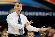 Head coach Billy Donovan of the Florida Gators questions a call against the Missouri Tigers during the quarterfinals of the SEC Men's Basketball Tournament at Georgia Dome on March 14, 2014 in Atlanta, Georgia.
