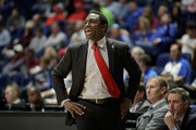 Avery Johnson the head coach of the Alabama Crimson Tide gives instructions to his team against the Mississippi State Bulldogs during the second round of the SEC Basketball Tournament at Bridgestone Arena on March 9, 2017 in Nashville, Tennessee.