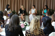 (L-R) Panel Speakers Joyce Chang, Caley Yavorsky, Actress Jessica Alba, and Athlete Allyson Felix at SELF Joyce Chang, Jessica Alba Caley Yavorsky and Allyson Felix Luncheonon October 14, 2014 in Los Angeles, California.