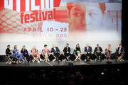 (L-R) Charlie Barnett, Barbara Garrick, Zosia Mamet, Garcia, May Hong, Paul Gross, Murray Bartlett, Laura Linney, Armistead Maupin, Alan Poul, Lauren Morelli, and Noah Cowan speak onstage after the Tales of the City Premiere, at the Castro Theater on April 10, 2019 in San Francisco, California.