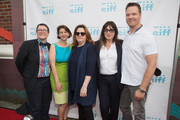 (L-R) Beth Barrett, Sarah Wilke, Theresa Rebeck, Anjelica Huston and Jim Parrack arrive at the world premiere of the film 'Trouble' at Egyptian Theater, Seattle on June 7, 2017 in Seattle, Washington.
