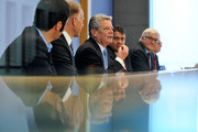 Joachim Gauck (C) speaks during a press conference while sitting between Cem Oezdemir (l-r) and Juergen Trittin (both Green Party) and Sigmar Gabriel and Frank-Walter Steinmeier (SPD) prior to a press conference on June 4, 2010 in Berlin, Germany.  Social Democrats and the Green Party presented Gauck as their candidate in upcoming elections for German president scheduled for June 30, following the unexpected recent resignation of previous President Horst Koehler.