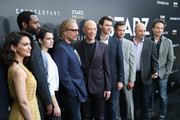 """(L-R) Actors Nazanin Boniadi, Nicholas Pinnock, Sara Serraiocco, Executive producer/director Morten Tyldum, actors J. K. Simmons, Harry Lloyd, Creator/writer/executive producer Justin Marks, actor Richard Schiff and Composer Jeff Russo of """"Counterpart"""" attend the STARZ """"Counterpart"""" & """"Howards End"""" FYC Event at LACMA on May 23, 2018 in Los Angeles, California."""