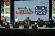 (L-R) Queen Latifah, Sophia Bush, First Lady Michelle Obama, Missy Elliot and Diane Warren speak onstage at SXSW Keynote: Michelle Obama during the 2016 SXSW Music, Film + Interactive Festival at Austin Convention Center on March 16, 2016 in Austin, Texas.