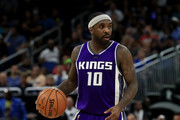 Ty Lawson #10 of the Sacramento Kings sets up the offense during the game against te Orlando Magic at Amway Center on November 3, 2016 in Orlando, Florida.  NOTE TO USER: User expressly acknowledges and agrees that, by downloading and or using this photograph, User is consenting to the terms and conditions of the Getty Images License Agreement.