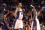 Matt Barnes #22 of the Sacramento Kings high fives Ty Lawson #10 after scoring against the Phoenix Suns during the second half of the NBA game at Talking Stick Resort Arena on October 26, 2016 in Phoenix, Arizona.  The Kings defeated the Suns 113-94. NOTE TO USER: User expressly acknowledges and agrees that, by downloading and or using this photograph, User is consenting to the terms and conditions of the Getty Images License Agreement.