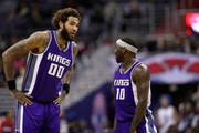 Willie Cauley-Stein #00 of the Sacramento Kings talks with Ty Lawson #10 against the Washington Wizards at Verizon Center on November 28, 2016 in Washington, DC. NOTE TO USER: User expressly acknowledges and agrees that, by downloading and or using this photograph, User is consenting to the terms and conditions of the Getty Images License Agreement.