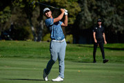 Danny Lee of New Zealand plays his shot from the sixth fairway while on the 13th hole during the final round of the Safeway Open at the North Course of the Silverado Resort and Spa on October 7, 2018 in Napa, California.
