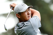 Danny Lee of New Zealand plays his shot from the 12th tee during round one of the Safeway Open at the North Course of the Silverado Resort and Spa on October 4, 2018 in Napa, California.
