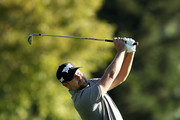 Ryan Moore plays his shot on the ninth hole during the second round of the Safeway Open at the North Course of the Silverado Resort and Spa on October 5, 2018 in Napa, California.