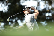 Ryan Moore plays his shot from the 11th tee during the second round of the Safeway Open at the North Course of the Silverado Resort and Spa on October 5, 2018 in Napa, California.