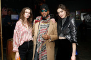 Model Dasha Denisenko, Swizz Beats, and model Daphne Velghe attend Saks Fifth Avenue And Good Luck Dry Cleaners Launch Underground Art-Themed Speakeasy, GLD@Saks at Level Zero - Saks Fifth Avenue on February 7, 2018 in New York City.