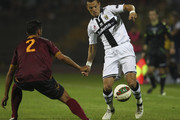 Djamel Mesbah (R) of Parma FC is challenged by Riccardo Colombo (L) of US Salernitana during the pre-season friendly match between US Salernitana and Parma FC at Stadio Diceu on August 4, 2014 in Eboli, Italy.