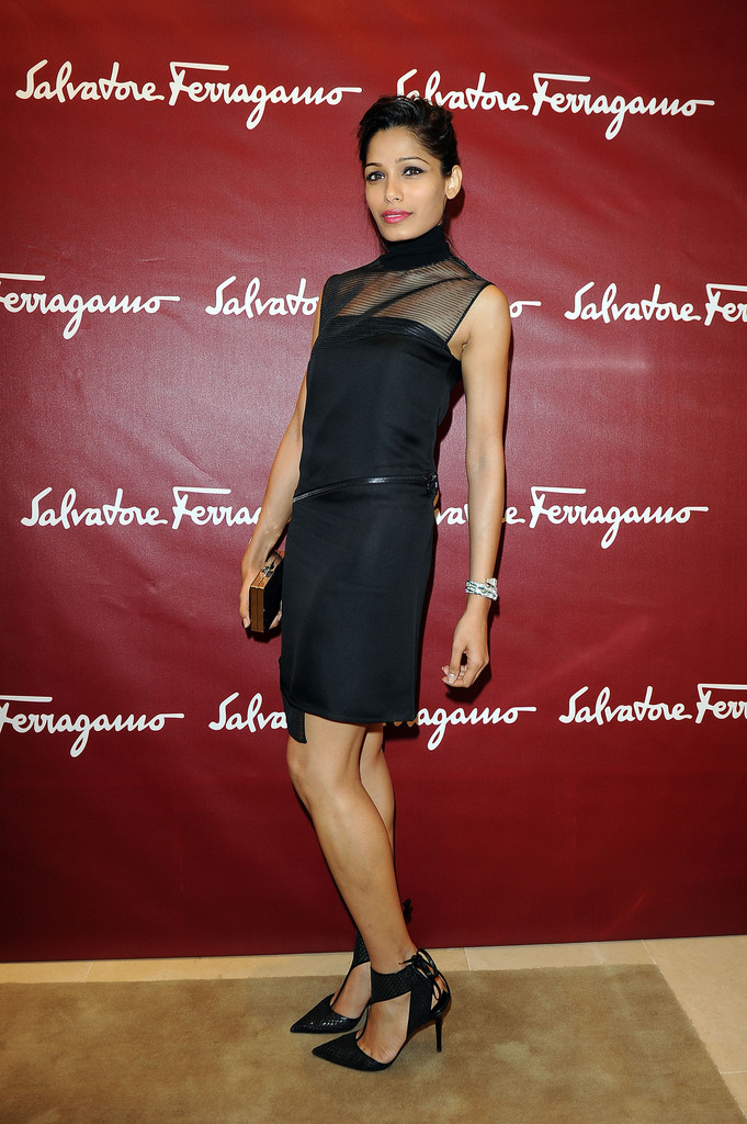 Freida Pinto attends the Salvatore Ferragamo Boutique Opening as part of Milan Fashion Week Womenswear Spring/Summer 2014 on September 20, 2013 in Milan, Italy.