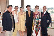 (L-R) Matthew Sprouse, Dylan Sprouse, Barbara Palvin, Cole Sprouse, Felicity Blunt and Stanley Tucci attend the Salvatore Ferragamo Private Dinner at Palazzo Vecchio during Pitti Immagine Uomo 96 on June 11, 2019 in Florence, Italy.