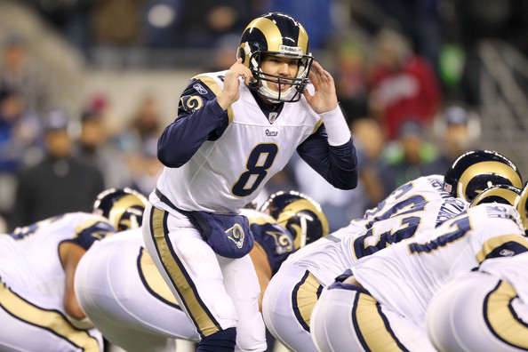 Sam Bradford at the line. Photo by Otto Greule Jr/Getty Images North America