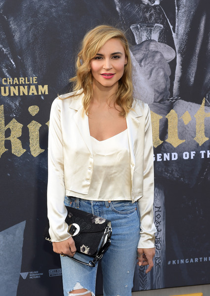 Premiere of Warner Bros. Pictures' 'King Arthur: Legend of the Sword' - Arrivals [king arthur: legend of the sword,clothing,jeans,denim,outerwear,street fashion,fashion,blond,leather,premiere,jacket,arrivals,samaire armstrong,tcl chinese theatre,california,hollywood,warner bros. pictures,premiere,premiere]