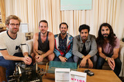 Jacob Tilley, Francois Comtois, Eric Cannata, Sameer Gadhia, and Payam Doostzadeh of Young The Giant at the Samsung Galaxy Artist Lounge at Lollapalooza at Grant Park on August 3, 2014 in Chicago, Illinois.