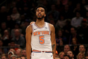 Courtney Lee #5 of the New York Knicks celebrates his shot in the first half against the San Antonio Spurs at Madison Square Garden on January 02, 2018 in New York City. NOTE TO USER: User expressly acknowledges and agrees that, by downloading and or using this photograph, User is consenting to the terms and conditions of the Getty Images License Agreement.