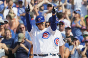 Anthony Rizzo #44 of the Chicago Cubs celebrates his pinch hit, run scoring single in the 7th inning against the San Diego Padres at Wrigley Field on August 5, 2018 in Chicago, Illinois.