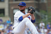 Starting pitcher Jon Lester #34 of the Chicago Cubs delivers the ball against the San Diego Padres at Wrigley Field on August 5, 2018 in Chicago, Illinois. The Padres defeated the Cubs 10-6.