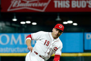 Joey Votto #19 of the Cincinnati Reds fields a ground ball during the game against the San Diego Padres at Great American Ball Park on September 7, 2018 in Cincinnati, Ohio.