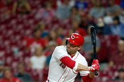 Joey Votto #19 of the Cincinnati Reds takes an at bat during the game against the San Diego Padres at Great American Ball Park on September 7, 2018 in Cincinnati, Ohio.