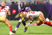 Dalvin Cook #33 of the Minnesota Vikings carries the ball in the first quarter of the game against the San Francisco 49ers at U.S. Bank Stadium on September 9, 2018 in Minneapolis, Minnesota.