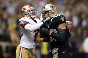 Jimmy Graham #80 of the New Orleans Saints is defended by Chris Culliver #29 of the San Francisco 49ers during the third quarter of a game at the Mercedes-Benz Superdome on November 9, 2014 in New Orleans, Louisiana.