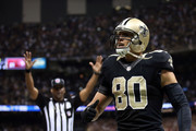 Jimmy Graham #80 of the New Orleans Saints reacts to a touchdown late in the fourth quarter during a game against the San Francisco 49ers at the Mercedes-Benz Superdome on November 9, 2014 in New Orleans, Louisiana.