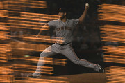 Image was created using multiple exposures in camera.) Madison Bumgarner #40 of the San Francisco Giants delivers a pitch during the MLB game against the Arizona Diamondbacks at Chase Field on August 2, 2018 in Phoenix, Arizona.