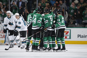 Brett Ritchie #25, Jamie Benn #14, John Klingberg #3, Mattias Janmark #13 and the Dallas Stars celebrate a goal against the San Jose Sharks at the American Airlines Center on December 31, 2017 in Dallas, Texas.