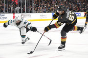 Max Pacioretty #67 of the Vegas Golden Knights shoots against Brent Burns #88 of the San Jose Sharks in the second period of their preseason game at T-Mobile Arena on September 30, 2018 in Las Vegas, Nevada. The Golden Knights defeated the Sharks 5-2.