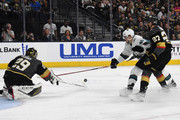 Marc-Andre Fleury #29 of the Vegas Golden Knights blocks a shot by Tomas Hertl #48 of the San Jose Sharks as Shea Theodore #27 of the Golden Knights defends in the first period of Game Two of the Western Conference Second Round during the 2018 NHL Stanley Cup Playoffs at T-Mobile Arena on April 28, 2018 in Las Vegas, Nevada.