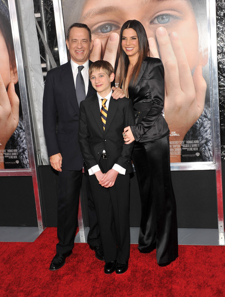 "Sandra Bullock Actors Tom Hanks, Thomas Horn, and Sandra Bullock attend the ""Extremely Loud & Incredibly Close"" New York premiere at the Ziegfeld Theater on December 15, 2011 in New York City."