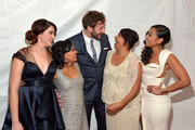 "(L-R) Actors Shari Sebbens, Miranda Tapsell, Chris O' Dowd, Deborah Mailman, and Jessica Mauboy attend ""The Sapphires"" screening at The Paris Theatre on March 13, 2013 in New York City."