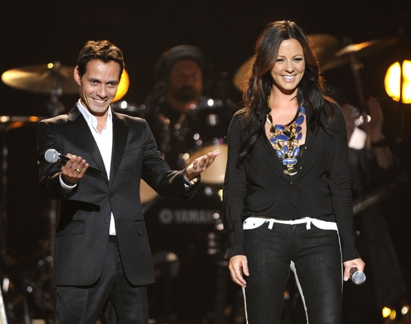 Photo of Marc Anthony & his friend musician  Sara Evans - Lionel Richie Concert