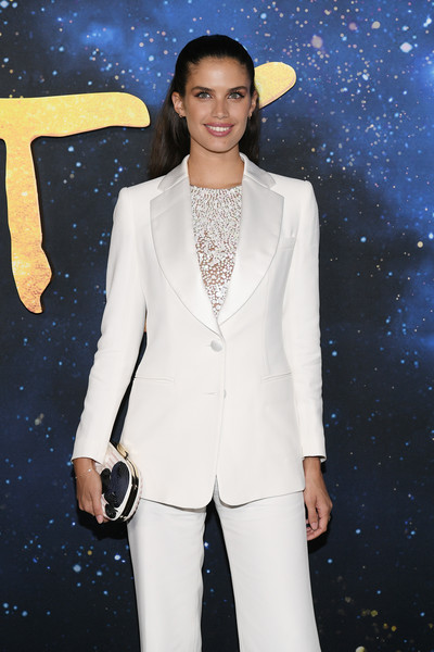 """""""Cats"""" World Premiere [cats,white,suit,clothing,pantsuit,fashion,blazer,formal wear,outerwear,tuxedo,fashion model,sara sampaio,alice tully hall,new york city,lincoln center,cats world premiere,world premiere]"""