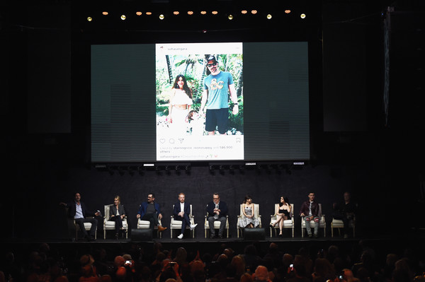 FYC Event For ABC's 'Modern Family' - Inside [modern family,stage,projection screen,event,performance,display device,technology,projector accessory,stage equipment,musical instrument accessory,convention,steven levitan,danny zuker,actors,eric stonestreet,sarah hyland,l-r,abc,fyc,event]
