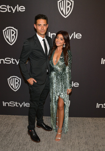 The 2019 InStyle And Warner Bros. 76th Annual Golden Globe Awards Post-Party - Red Carpet [suit,fashion,event,formal wear,tuxedo,carpet,muscle,dress,red carpet,premiere,sarah hyland,l-r wells adams,the beverly hilton hotel,beverly hills,california,instyle,red carpet,warner bros. 76th annual golden globe awards,warner bros. 76th annual golden globe awards post-party]