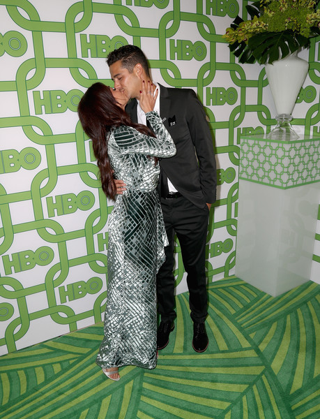 HBO's Official Golden Globe Awards After Party - Arrivals [green,fashion,dress,plant,photography,pattern,formal wear,fashion design,style,black hair,sarah hyland,wells adams,official golden globe awards,california,los angeles,circa 55 restaurant,hbo,arrivals]