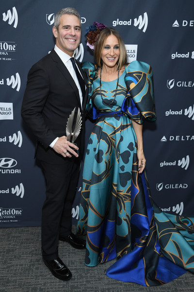 30th Annual GLAAD Media Awards New York – Backstage [fashion,premiere,suit,event,carpet,formal wear,dress,fashion design,style,glaad media awards,new york,midtown,new york hilton,andy cohen,sarah jessica parker]