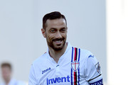 Fabio Quagliarella of UC Sampdoria reacts during the Serie A match between US Sassuolo and UC Sampdoria at Mapei Stadium - Citta' del Tricolore on March 16, 2019 in Reggio nell'Emilia, Italy.