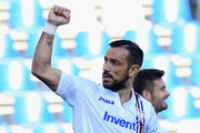 Fabio Quagliarella of UC Sampdoria celebrates during the Serie A match between US Sassuolo and UC Sampdoria at Mapei Stadium - Citta' del Tricolore on March 16, 2019 in Reggio nell'Emilia, Italy.