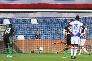 Fabio Quagliarella (R) of UC Sampdoria scores his goal from the penalty spot during the Serie A match between US Sassuolo and UC Sampdoria at Mapei Stadium - Città del Tricolore on September 1, 2019 in Reggio nell'Emilia, Italy
