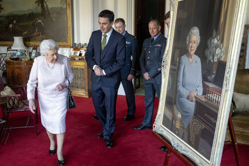Scott Miller Queen Elizabeth II Is Presented With A New Portrait To Celebrate 75th Anniversary Of The RAF